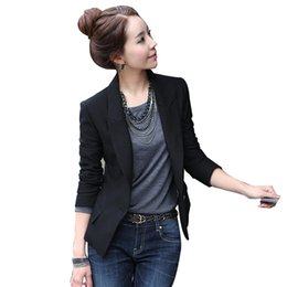 Barato Inverno Desgaste Blazers Mulheres-2017 New Women Casual Basic Autumn Winter Coat Blazer Top Work Wear OL Preto Business Suit Full Sleeve Loose Plus Size