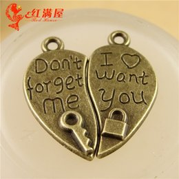 $enCountryForm.capitalKeyWord Canada - 26*24MM Don't forget me charms for bracelet, metal dangle vintage heart lock and key pendant for necklace, jewelry making handmade materials