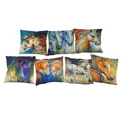 Chinese  Colorful Horse Linen Cushion Cover Home Office Sofa Square Pillow Case Decorative Cushion Covers Pillowcases Without Insert(18*18Inch) manufacturers