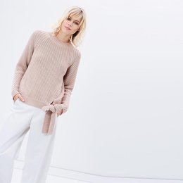 Pull Rose Pas Cher-Manches longues bowknot cravate taille rose chandails femmes automne slim fit mignons pulls dames pull slouchy côtelés tops mode tricot