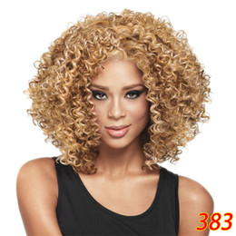 Cheap Wig Fashion Short Bob Afro Curly Fluffy Synthetic Hair Wigs Side Bang Wig for Women 4 Colors Choose cheap short hair bob fashion synthetic from short hair bob fashion synthetic suppliers