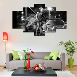 $enCountryForm.capitalKeyWord NZ - 5 Pcs Set Sexy Marilyn Monroe Canvas Painting Movie Star Poster HD printed Home Wall Decor picture For Living room