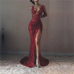Voir À Travers Les Robes De Bal Avant Pas Cher-Dark Red Deep V Neck Robes de bal Plain Sexy Lace See Through Mermaid Robe de soirée Side Split Special Occasion Dresses Party Vestidos