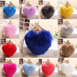 Heart Shaped Handbags Wholesale Canada - Hot selling Lovely Heart Shape Rabbit Fur Ball Car Keychain Pendant Handbag PomPom Charm Key Ring 14 Styles Free DHL D375Q
