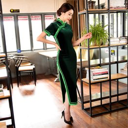 Polyester Dresses China Canada - Shanghi Story China Qipao Dress Velvet Chinese Style long cheongsam dress Chinese Oriental dress Vintage 4 Color
