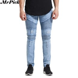 Barato Alongamento Do Buraco Magro-Atacado- MrPick New Men Ripped Distressed Biker Jeans 2017 Urban Classic 5 Styles Skinny Hole Pencil Stretch Jeans