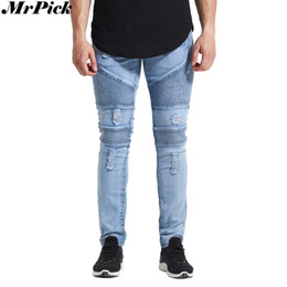 urban jeans UK - Wholesale- MrPick New Men Ripped Distressed Biker Jeans 2017 Urban Classic 5 Styles Skinny Hole Pencil Stretch Jeans