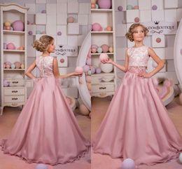 little girls satin party dresses 2019 - Newest 2017 2 Piece Pageant Dresses Lace Top Long Chiffon Little Girl Party Dresses Lovely Jewel Formal Wear Dresses dis
