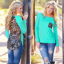 Tops Al Por Mayor Del Leopardo Para Las Mujeres Baratos-Al por mayor-Nuevas mujeres leopardo de manga larga Top Casual Camiseta Ladies Loose Sexy Top
