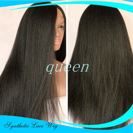 Burgundy yaki straight lace wigs online shopping - Yaki Straight Synthetic Lace Front Wig with Baby Hair Black Long Straight Wig for Black Women No Shedding No Tanlged for Black Women