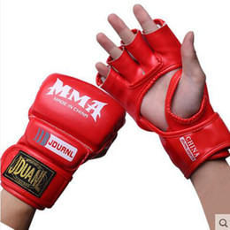 fighting equipment 2019 - High Quality Half Mitts Boxing Luva Boxe Half Finger Gloves Men Mma Fight Sanda Wushu Training Equipment Pu Leather Glov