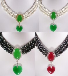 $enCountryForm.capitalKeyWord NZ - Wholesale cheap 4 colors! 3 row 6-7mm white black pearl necklace +green red heart jade pendant