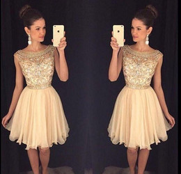 a665c3b90679 Custom Made Two Pieces Short Homecoming Party Dresses Sheer Halter Neck Lace  Pearls Knee Length Cocktail Dress Grade 8 Graduation Dresses