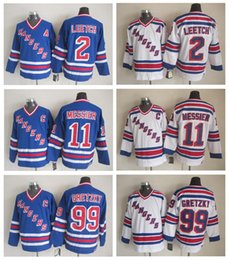 ... New York Rangers Jerseys Hockey 99 Wayne Gretzky 2 Brian Leetch 11 Mark  Messier Ice Hockey . fce3a8e89