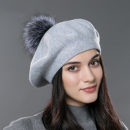 2a40c72524bb7 winter Women beret hat knitted wool female winter knitted wool beret  natural raccoon fox fur pompom hat solid color top quality beret cap