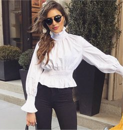 Barato Coleiras Para Senhoras-Modest Office Lady Flare Sleeve Ruffles T-Shirt High Collar Luva longa A cintura cabida Lady Shirt Chic Solid Elastic Femme Blouse Tees