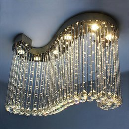 Discount master bedroom chandelier - S design modern Pendant Lamps living room L800*W300*H600mm Crystal chandeliers, S-shaped crystal Indoor Lighting for Bar