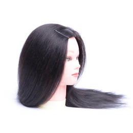 """Hairdressing Dolls Canada - 100% Human Hair Mannequin Head 18"""" Blonde Great Quality Natural Black Color Hair Hairdressing Dolls Head For Beauty"""