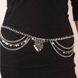 $enCountryForm.capitalKeyWord NZ - 30pcs WOMEN Belly Chain Jewelry Fashion Women Vintage Summer Gold Silver Plated Sequins Tassel Multilayer Body Chain F10