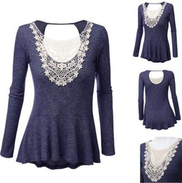 Cotton T Shirts Lace Canada - Plus Size Lace T Shirt Summer Long Sleeve Shirts Fashion Casual Tops Female Cotton Blouse Sexy Tees Solid Knitwear Women's Clothing B2445