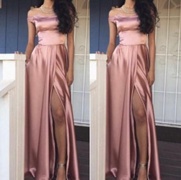 Discount plus size sexy satin dresses - Rose Pink Plain Satin Long Evening Dresses A Line Off Shoulders Side Split Formal Party Wear Gowns Prom Dresses Plus Siz