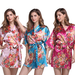 Blue Shirt For Wedding Australia - Satin Wedding Bride Bridesmaid Robe Floral Bathrobe Flower Print Kimono Robe Dressing Night Gown For Women