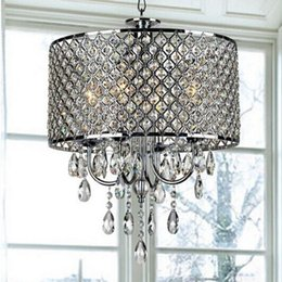 Modern Chandeliers with 4 Lights Pendant Lamp LED Round Crystal  Chandelier Ceiling Light Fixture for Dining Room Bedroom Living Black For Online