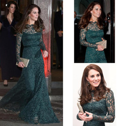 Barato Kate Middleton Vestido Azul Longo-Kate Middleton Formal Lace Evening Dresses 2018 Manga comprida Sheer Neck Bainha Long Hunter Green Prom Party Red Carpet Gowns Cheap Custom