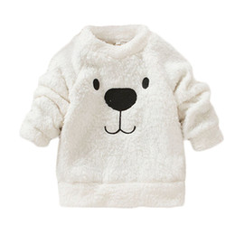 Chinese  Wholesale- Baby Clothes Spring Winter Rompers Long Sleeve Lovely Bear Furry White Coat manufacturers