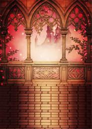 $enCountryForm.capitalKeyWord Canada - 5x7ft Fairy Tale Photography Background Castle Vintage Stone Pavilion Pink Flowers Princess Wedding Photo Backdrop Brick Floor