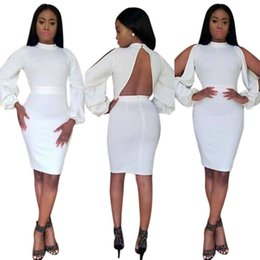 Barato Longo Vestido Apertado Branco-Woman White Nightclub Dresses 2017 Spring Woman Fashion Sexy Tight Zipper Backless Manga comprida Hollow Bodycon Dress Frete grátis