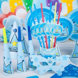 Yellow Grey Party Supplies Canada - Boy Crown Prince Series Party Supplies Children Blowout Flag Mask Cup Cap Decoration Props Birthday Party Decoration Set