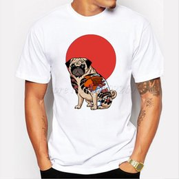 Fresco Del Tatuaje De Camisetas Baratos-Al por mayor-Moda Yakuza Pug Men camiseta de manga corta tops casual hipster cartoon tatuaje pug impreso camisetas divertidas camiseta fresca animal