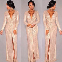 Barato Ocasião Especial Vestidos Comprimento Total-2018 New Sequin Long Sleeve Evening Dresses Rose Gold Deep V-neck Slit Prom Dresses Sparky Sexy full length ocasião especial vestido Hot Sale
