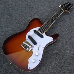 Mini travel guitars online shopping - Rare Strings Mini Travel Mando Telecaster Electric Guitar Black Sunburst Mandolin Electric Guitar Rosewood Fingerboard White MOP Inlay