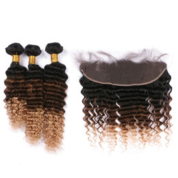 Chinese  Hot Sale 1b 4 27 Honey Blonde Ombre Deep Wave Brazilian Virgin Hair Bundles With Lace Frontal Closure 13x4 Natural Hairline 4Pcs Lot manufacturers