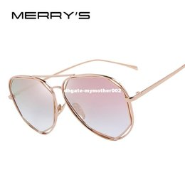 woman s designer sunglasses NZ - MERRY'S Fashion Women Sunglasses Classic Brand Designer Twin-Beams Coating Mirror Flat Panel Lens Summer Shades S'8492