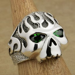 boys sterling silver rings 2020 - LINSION 925 Sterling Silver Fire Skull Ring Green CZ Eyes Mens Boys Biker Rock Punk Style 8D506 US Size 7~15
