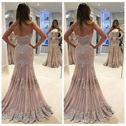 Barato Vestido Zíper Slim Traseiro-Sexy Sweetheart Lace Mermaid Slim Petite Evening Dresses Zipper Back Sweep Train Long Formal Prom Party Vestidos Appliques Ocasião especial