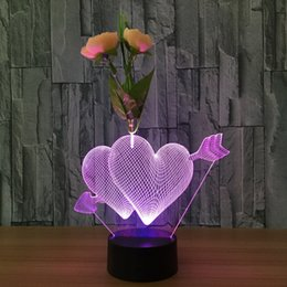 Night Lamp Star Love Canada - The Arrow of Love with Flower 3D Night Lamp Optical Night Light 10 LEDs Night Light DC 5V Factory Wholesale Dropshipping