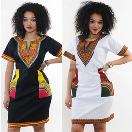 Casual Ladies African Dashiki Flora Imprimé À Manches Courtes Robe D'étéHippe Gypsy Festival Soirée Club Cocktail Robes Clubwear