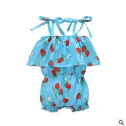 Garçon De Fille En Bambou Ruffled Pas Cher-Baby Girls Strawberry Romper Outfit Summer Ruffle Jumpsuit Romper Girls Strawberry Romper Robe Ins Vêtements Toddler Infant Floral Clothes