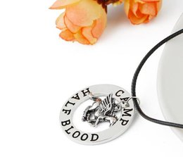 Discount percy jackson necklace Free Shipping New Wholesale Percy Jackson Necklace Camp Mystery Fly Horse Pendant Vintage Jewelry Leather Cord for Men a