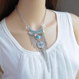 $enCountryForm.capitalKeyWord Australia - 2017 new Bohemian Long Tassel Necklace Women Coin Turquoise Statement Necklace &Pendants Fashion Jewelry free shipping