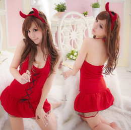 Barato Festa Lingerie Saia-Sexy Lingerie Christmas Devil Cosplay Babydoll Dress Sexy Skirt Underwear Party Club Roupa de dormir Pijamas Lingerie Mulheres