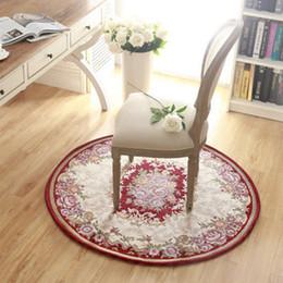 Hot Sales European Style Round Carpet Floral Parlor Door Round Rugs  Antiskid Jacquard Living Room Floor Mats JI0204 Part 57