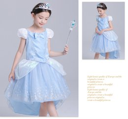 Traje De Cenicienta De Halloween Baratos-Big Girls Cinderella Costume Cosplay Princesa Vestidos Swallow Atado Vestido Niños Halloween Party Performance Stage Ropa