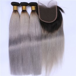 $enCountryForm.capitalKeyWord Canada - Silver Grey Ombre Brazilian Human Hair Weaves With Closure Silky Straight Two Tone 1B Grey Ombre 4x4 Lace Closure With 3 Bundles Extensions
