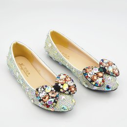$enCountryForm.capitalKeyWord Canada - Wholesale Ballet Flats Pointed Toe Beaded Rhinestones Pumps Luxury Prom Evening Shoes Cinderella Nighclub Party Shoes with Colorful Gems