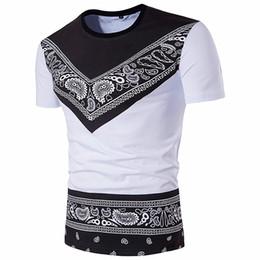 Maglietta della Boemia di Bandana per l'abbigliamento del manicotto del bicchierino-manicotto della maglietta di Paisley del cotone di modo di estate degli uomini che spedice liberamente